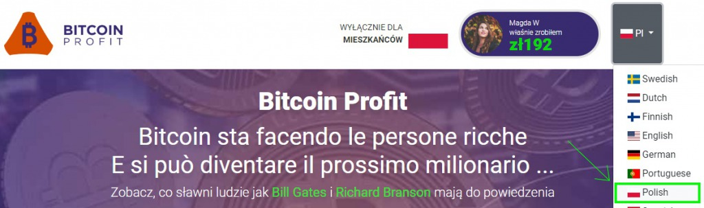 The Bitcoin Profit website is partially translated into Polish